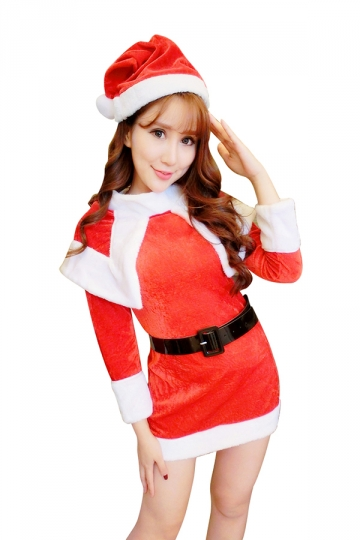 Womens Long Sleeve With Tippet Santa Claus Christmas Costume Red