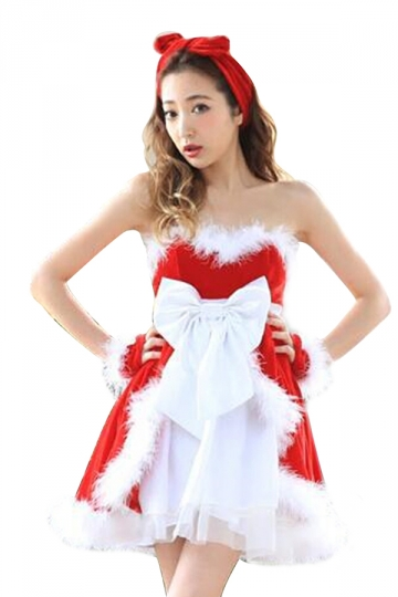 Womens Sexy Off Shoulder Fur Bow Lace Up Christmas Santa Costume Red