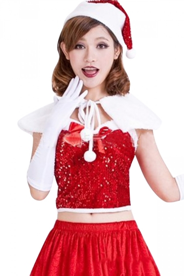 Womens Sexy Sequin Bow Shawl Off Shoulder Christmas Santa Costume Red