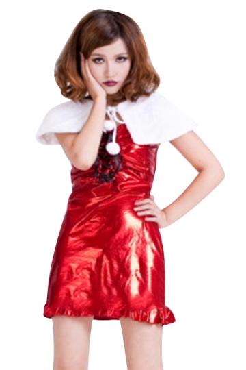 Womens Sexy Lace Up Shawl Venonat Christmas Santa Costume Red
