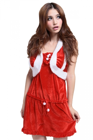 Womens Sexy Off Shoulder Shawl Venonat Christmas Santa Costume Red
