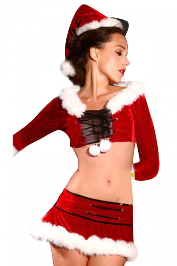 Womens Chic Lace Up Mesh Fur Venonat Christmas Santa Costume Red