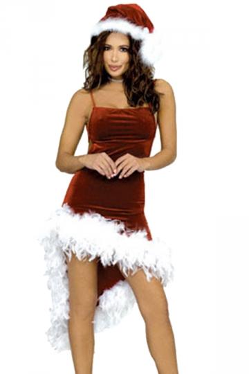 Womens Sexy Spaghetti Straps Fur Hem Christmas Santa Costume Red