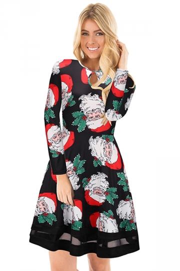 Long Sleeve Mesh Hem Santa Printed Christmas Dress Black And White