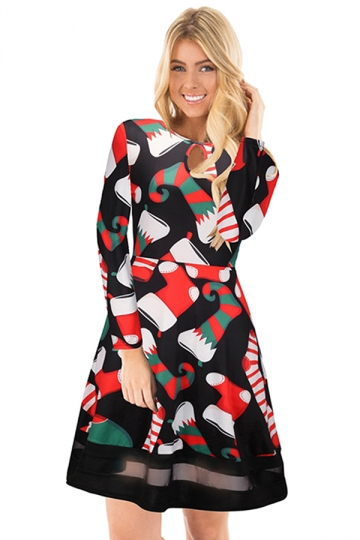 Crew Neck Long Sleeve Mesh Hem Stockings Printed Christmas Dress Coral