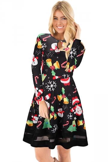 Long Sleeve Mesh Hem Santa Tree Printed Christmas Dress Multicolour