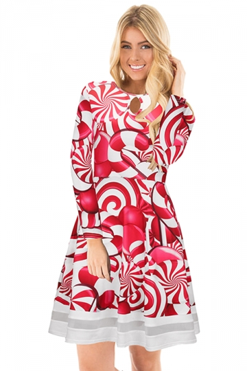 Crew Neck Long Sleeve Mesh Hem Lollipop Printed Christmas Dress Ruby