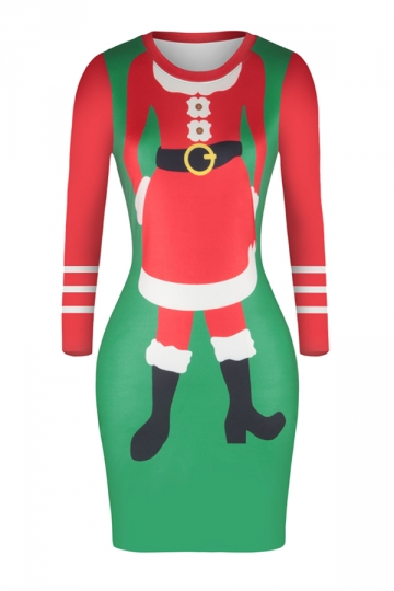 Crew Neck Long Sleeve Bodycon Santa Printed Christmas Dress Coral