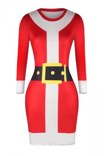 Womens Long Sleeve Bodycon Santa Printed Christmas Dress Dark Red