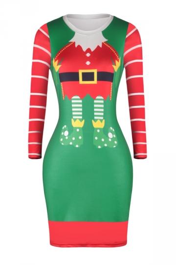 Long Sleeve Merry Christmas Printed Christmas Dress Emerald Green