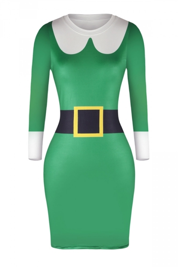 Womens Long Sleeve Bodycon Blet Printed Christmas Dress Light Green