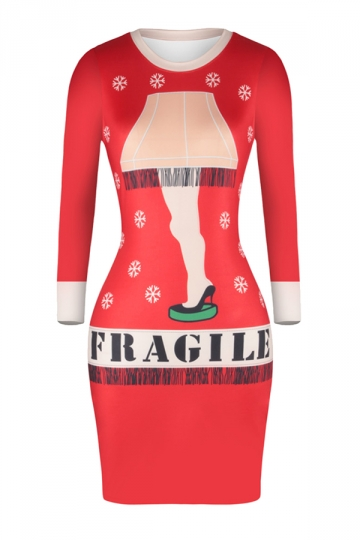 Crew Neck Long Sleeve Bodycon Snowflake Printed Christmas Dress Ruby