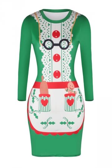 Womens Long Sleeve Bodycon Reindeer Printed Christmas Dress White