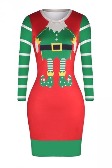 Crew Neck Long Sleeve Merry Christmas Printed Christmas Dress Ruby