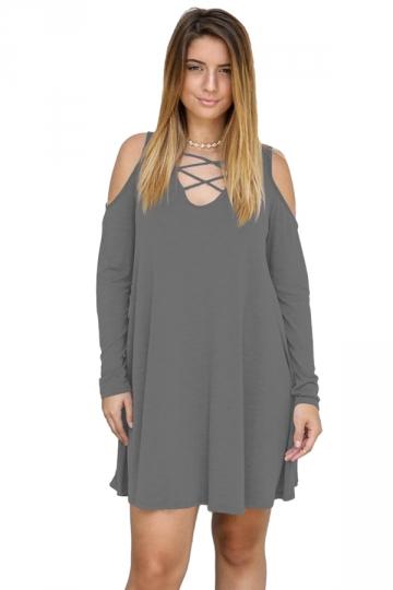 Womens V-Neck Cut Out Cold Shoulder Long Sleeve Smock Dress Dark Gray