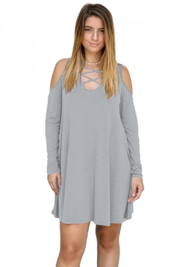Womens V-Neck Cut Out Cold Shoulder Long Sleeve Smock Dress Light Gray