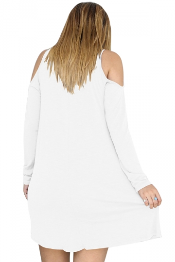 Womens Sexy V-Neck Cut Out Cold Shoulder Long Sleeve Smock Dress White