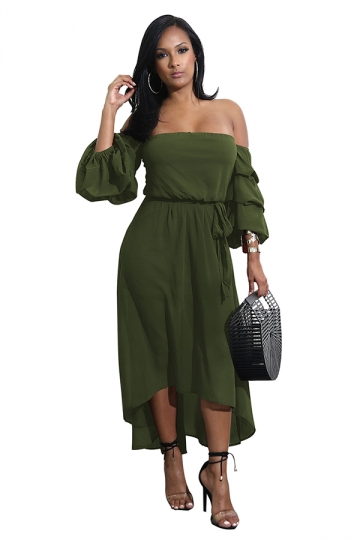 Womens Off Shoulder Bell Tiered Sleeve High Low Maxi Dress Army Green