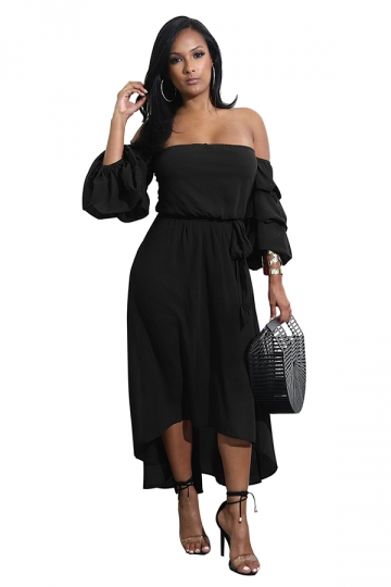 Womens Sexy Off Shoulder Bell Tiered Sleeve High Low Maxi Dress Black