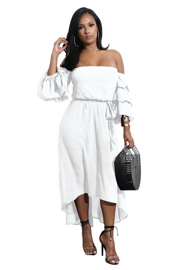 Womens Sexy Off Shoulder Bell Tiered Sleeve High Low Maxi Dress White