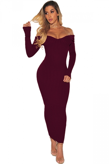 Off Shoulder Long Sleeve Textured Bodycon Maxi Sweater Dress Burgundy