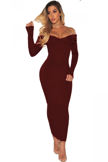 Off Shoulder Long Sleeve Textured Bodycon Maxi Sweater Dress Ruby