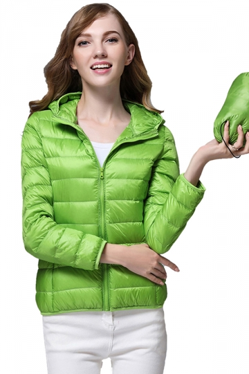 Womens Pocket Hooded Light 90% White Duck Down Jackets Light Green