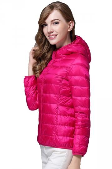 Womens Pocket Hooded Light Short 90% White Duck Down Jackets Rose Red