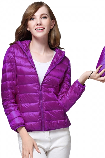 Womens Pocket Hooded Light Short 90% White Duck Down Jackets Purple