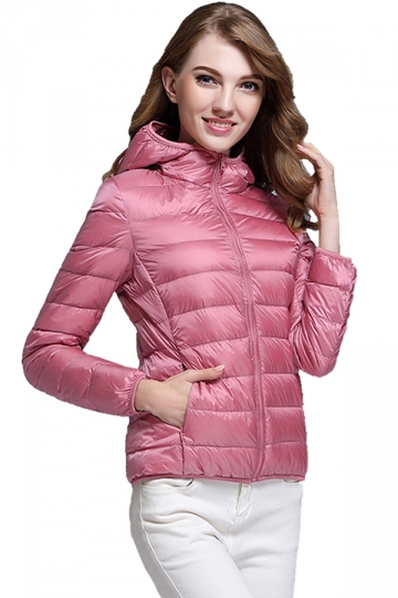 Womens Pocket Hooded Light Short 90% White Duck Down Jackets Pink