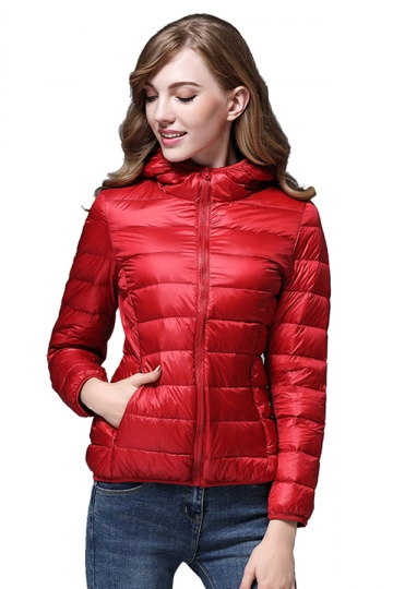 Womens Pocket Hooded Light Short 90% White Duck Down Jackets Red