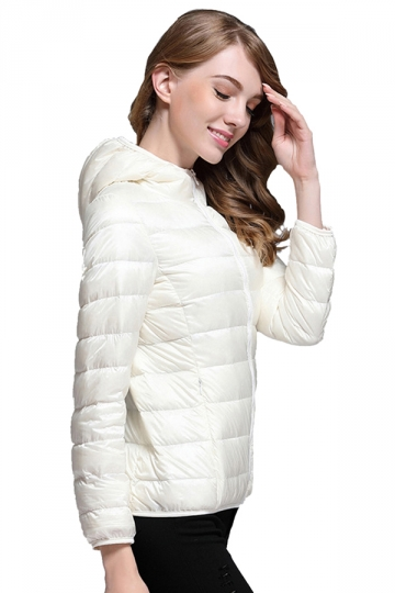 Womens Pocket Hooded Light Short 90% White Duck Down Jackets White