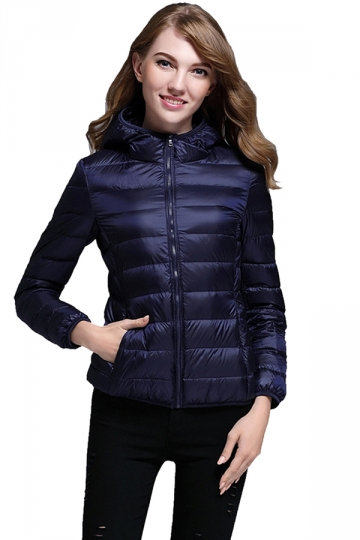 Womens Pocket Hooded Light Short 90% White Duck Down Jackets Navy Blue