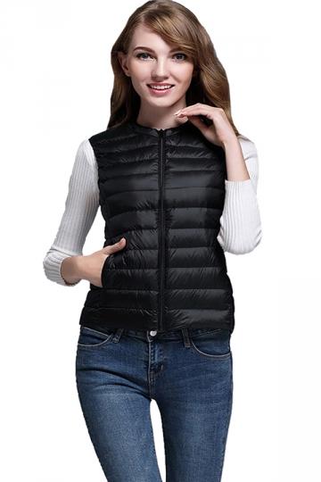 Womens Crew Neck Pocket Light Short 90% White Duck Down Vest Black