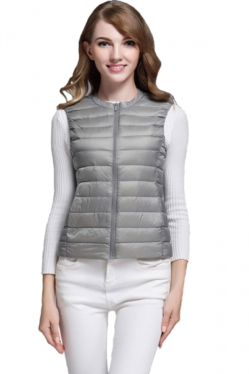 Womens Warm Crew Neck Pocket Light Short 90% White Duck Down Vest Gray