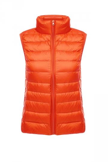 Womens Oversized With Pocket Light 90% White Duck Down Vest Orange