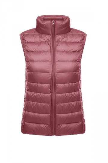 Womens Oversized With Pocket Light 90% White Duck Down Vest Pink