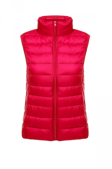 Womens Oversized With Pocket Light 90% White Duck Down Vest Red