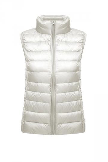 Womens Oversized With Pocket Light 90% White Duck Down Vest White