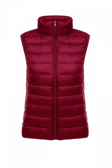 Womens Oversized With Pocket Light 90% White Duck Down Vest Ruby