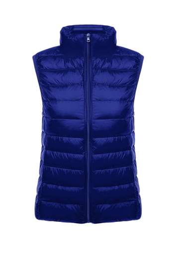 Womens Oversized With Pocket Light 90% White Duck Down Vest Navy Blue