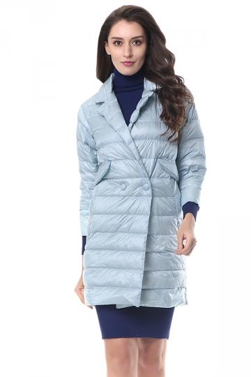 Womens Tailored Medium Style Pocket Button Oversized Down Jacket Blue