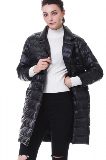 Tailored Medium Style Pocket Button Oversized Down Jacket Black