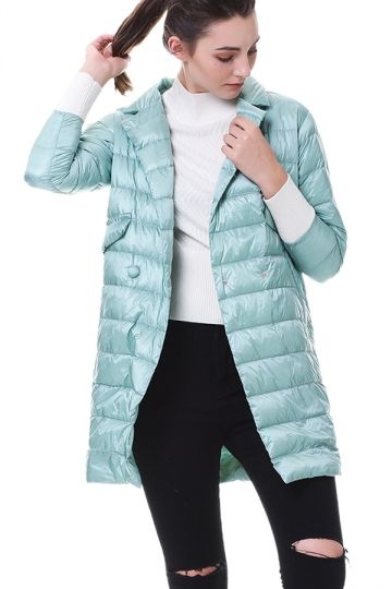 Tailored Medium Style Pocket Button Oversized Down Jacket Turquoise