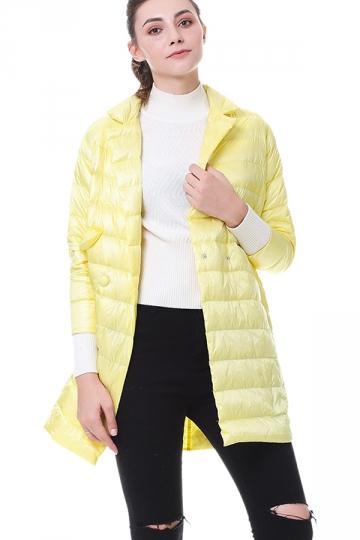 Tailored Medium Style Pocket Button Oversized Down Jacket Yellow
