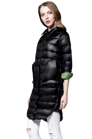 Womens Tailored Medium Style Button Big Pocket Light Down Jacket Black