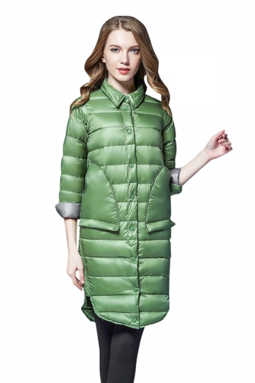 Womens Tailored Medium Style Button Big Pocket Light Down Jacket Green