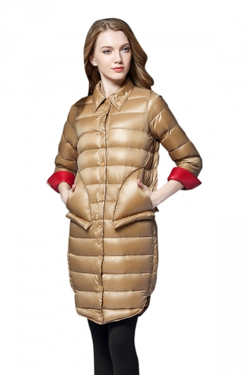 Womens Tailored Medium Style Button Big Pocket Light Down Jacket Khaki