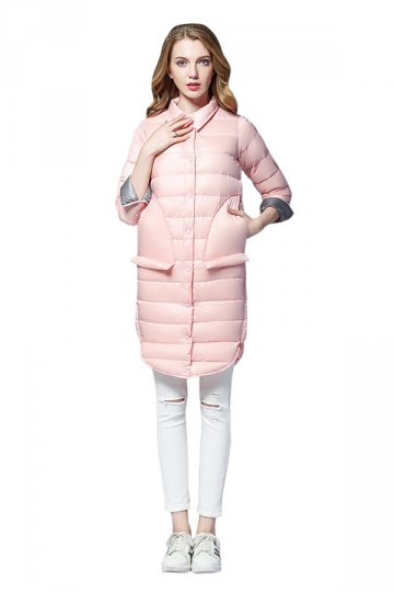 Womens Tailored Medium Style Button Big Pocket Light Down Jacket Pink
