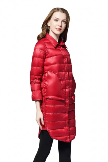 Womens Tailored Medium Style Button Big Pocket Light Down Jacket Red